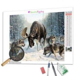 Diamond Painting – Wölfe auf der Jagd