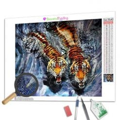 Diamond Painting – Tiger beim Schwimmen
