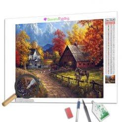 Diamond Painting – Bauernhöfe im Herbst