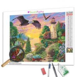 Diamond Painting – Adler bei Sonnenuntergang