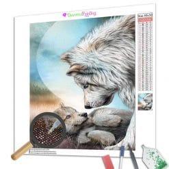 Diamond Painting – Weiße Wölfe