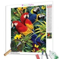 Diamond Painting – Papagei und Blumen