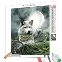 Diamond Painting – Wolf und Vollmond