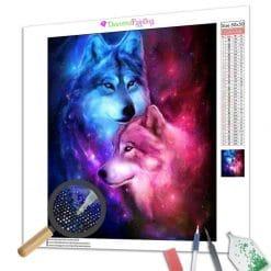 Diamond Painting – Wolf und Wölfin in Liebe