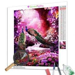 Diamond Painting – Pfau im rosa Wald