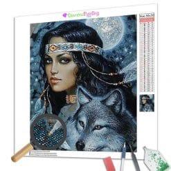 Diamond Painting – Der Wolf und der Indianer