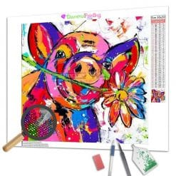 Diamond Painting – Buntes Schwein