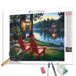 Diamond Painting – Zwei Stühle am See
