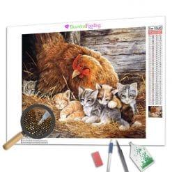 Diamond Painting – Hühner und ihre Kätzchen