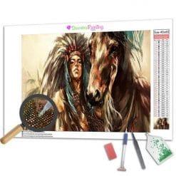 Diamond Painting – Indianer und sein Pferd