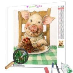 Diamond Painting – Schwein und Kuchen