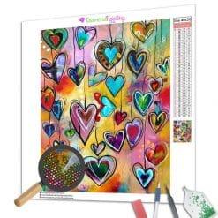 Diamond Painting – Mehrfarbige Herzen
