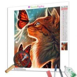 Diamond Painting – Katze und Schmetterling