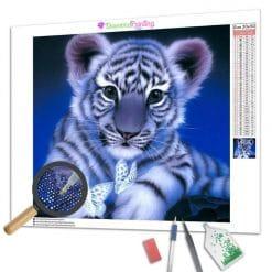 Diamond Painting – Weißer Tiger und Schmetterling
