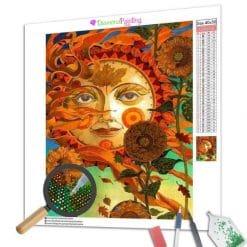 Diamond Painting – Abstrakte Sonnenblume