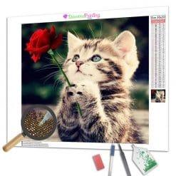 Diamond Painting – Kätzchen und seine Rose