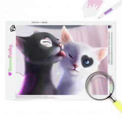 Diamond Painting – Katzenliebe zu zweit