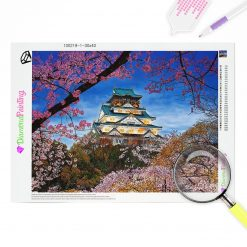 Diamond Painting – Japanisches Schloss mit Kirschblüte